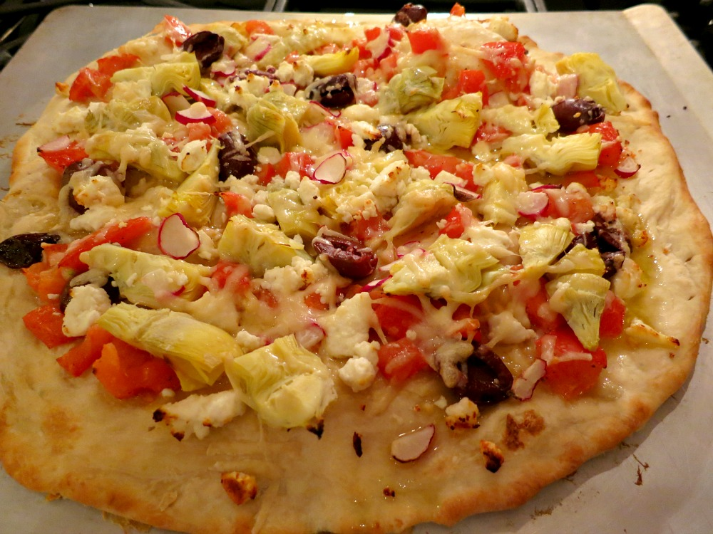 Artichoke, Tomato, Olive and Feta Pizza