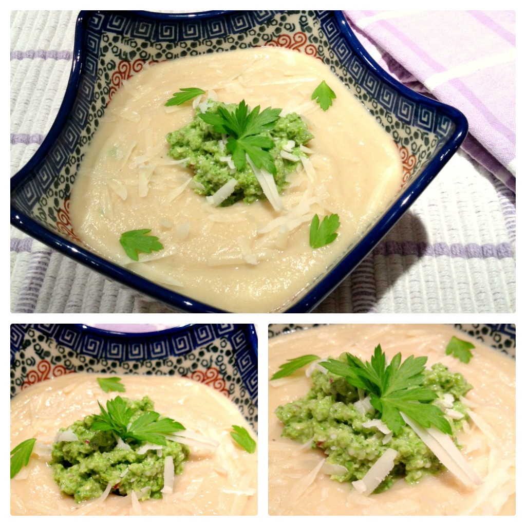 Cauliflower Soup & Asparagus Pesto Collage
