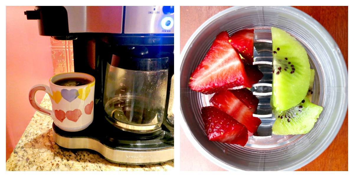 Sunday Coffee and Strawberry and Kiwi Water Collage