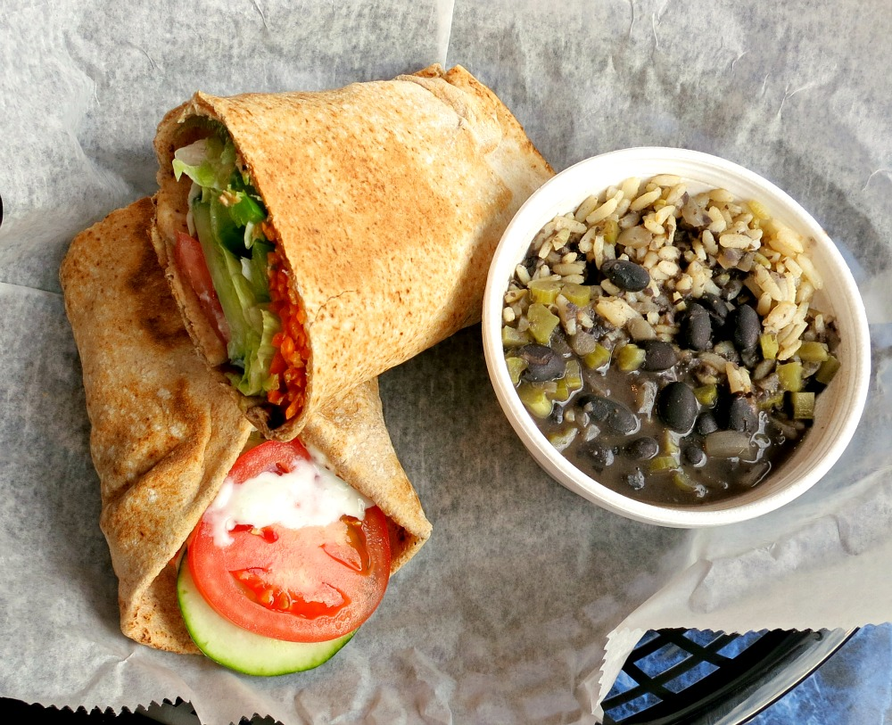 Veggie Wrap with Beans and Rice