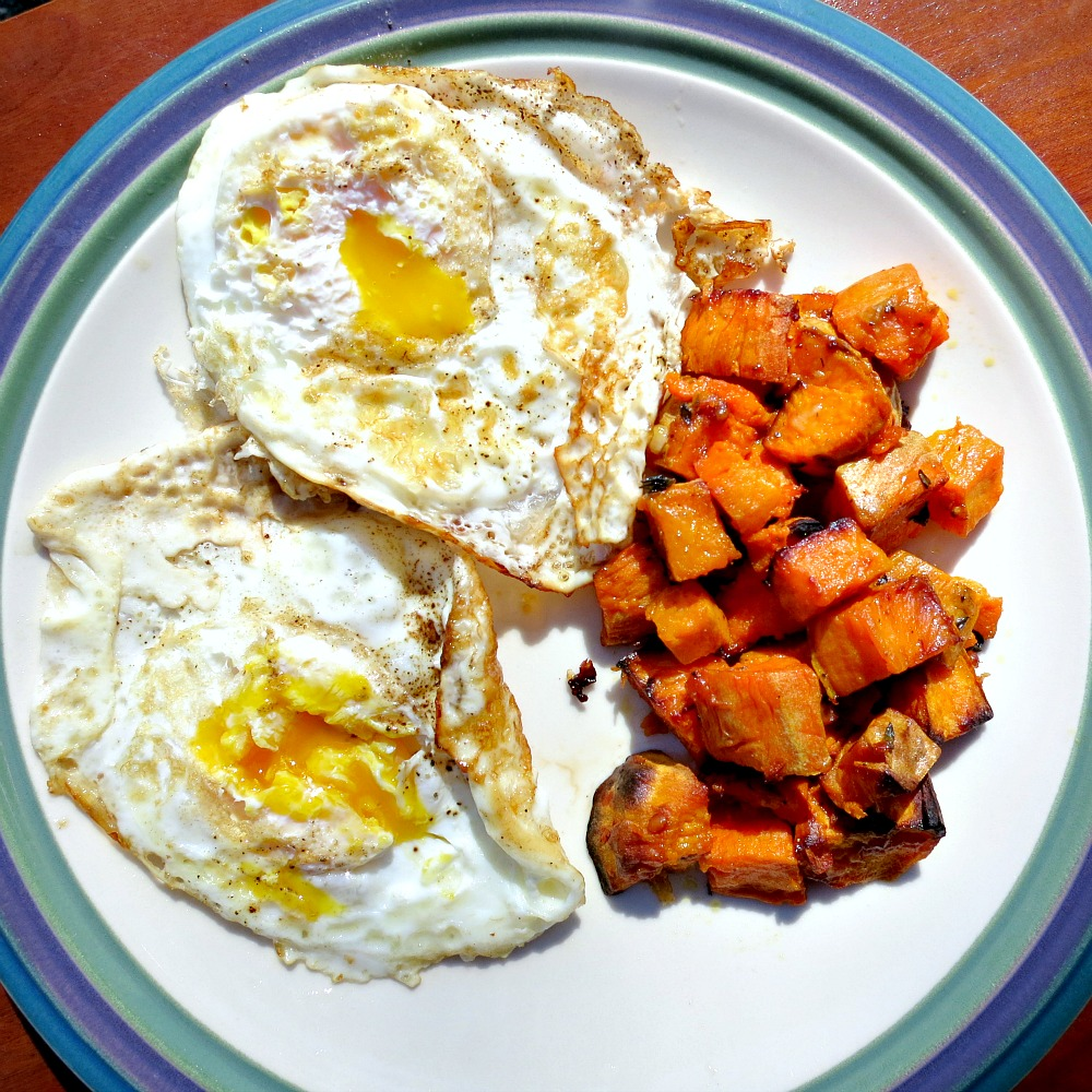Parmesan Roasted Sweet Potatoes and Fried Eggs 42013