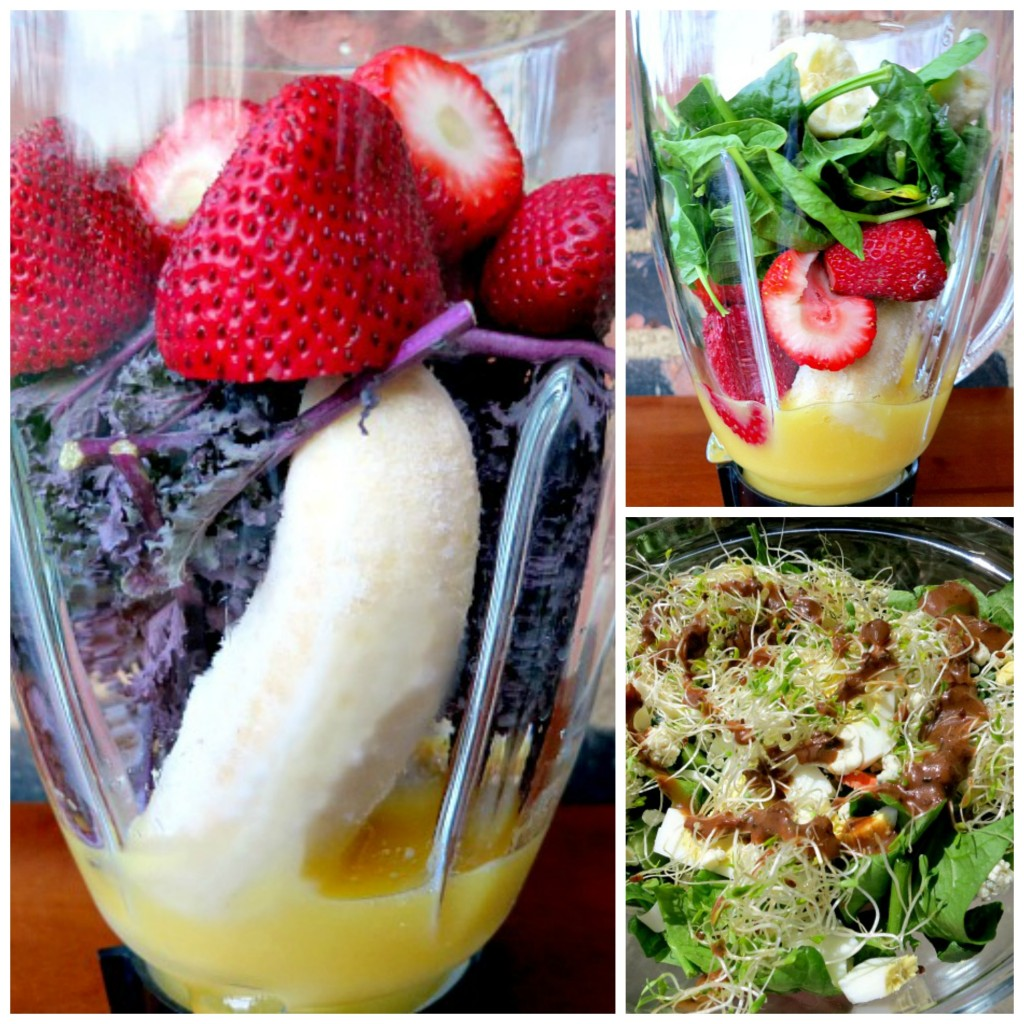Smoothie and Salad Collage