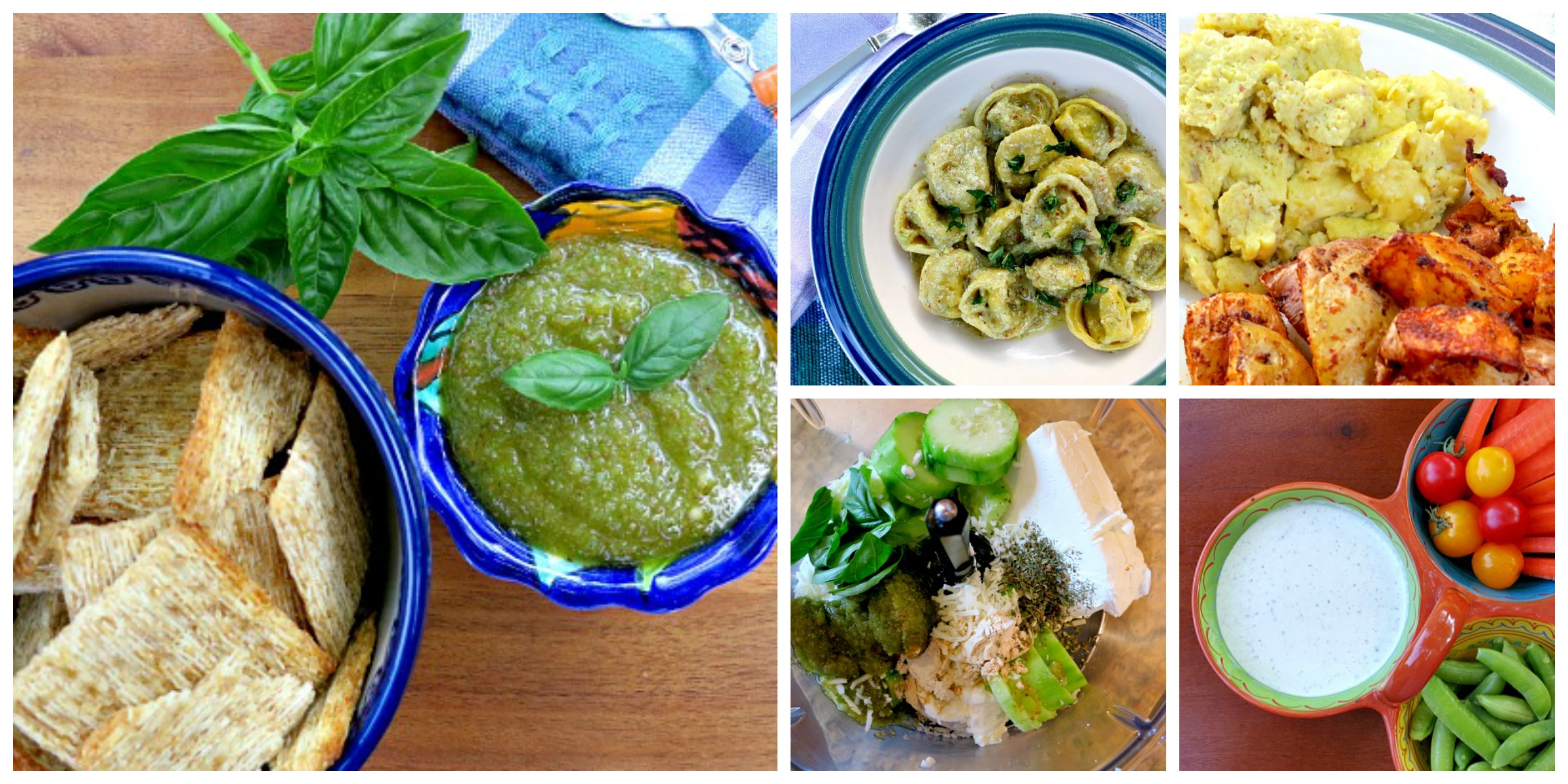 Garlic Scape Pesto Collage