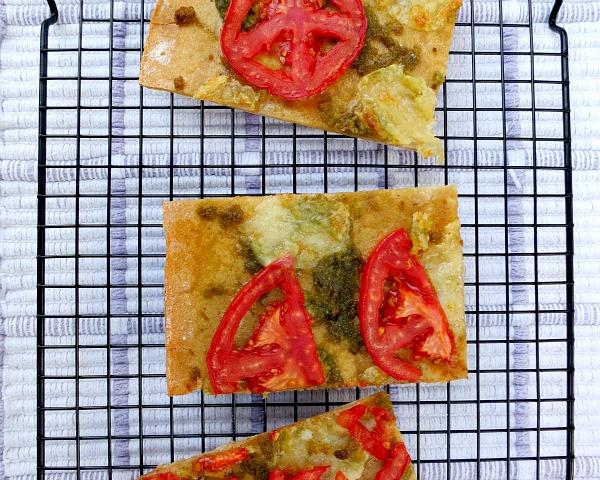 Pizza with Tomato, Mozarella and Ramp Pesto