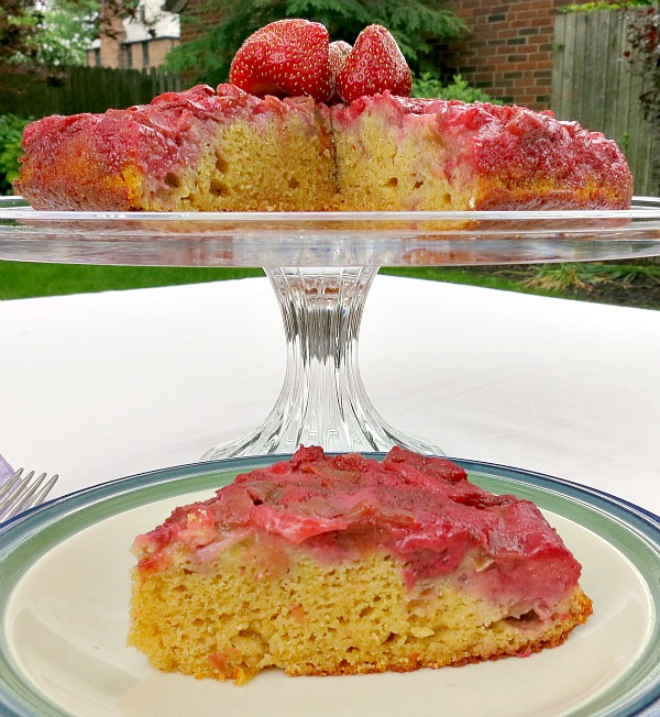 Rhubarb Strawberry Upside Down Cake