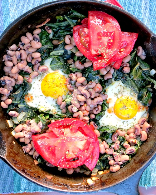 Collard Greens Fried Eggs Black Eyed Peas and Tomato Slices