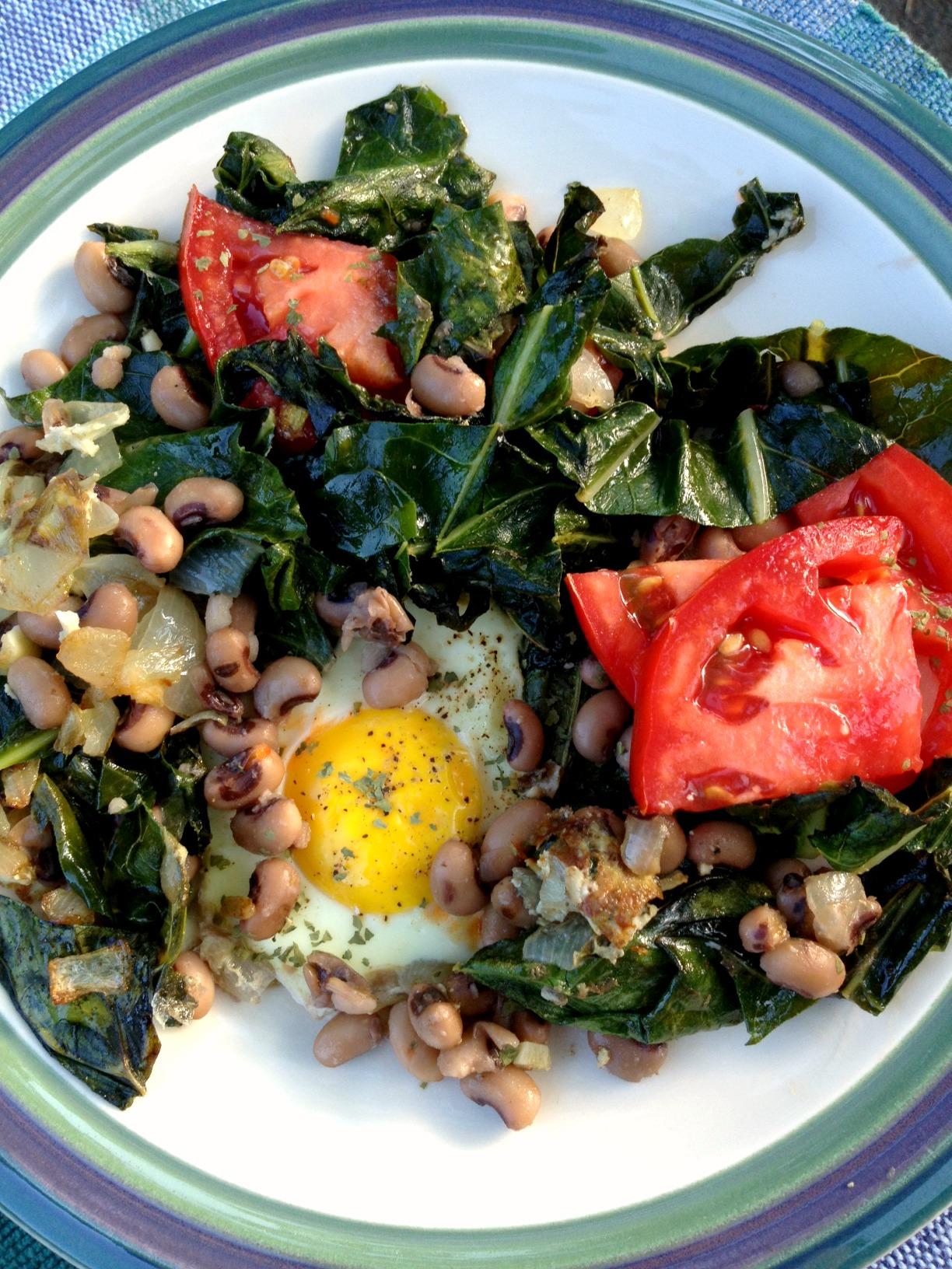 Collards, Black Eyed Peas, Tomato and Fried Egg