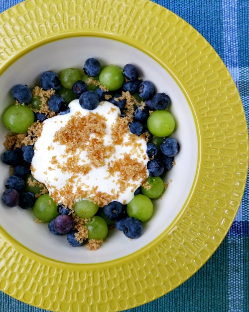 Blueberries and Grapes with Brown Sugar and Sour Cream