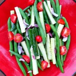 Cold Green Bean Salad with Cucumbers, Onions, Tomatoes