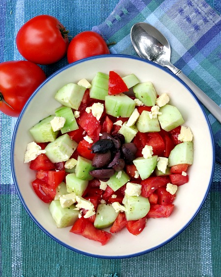 Cucumber, Tomato, Kalmata Salad with Feta