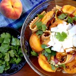 Peach Pasta with Asiago and Cilantro