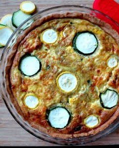 Pesto, Summer Squash and Zucchini Quiche