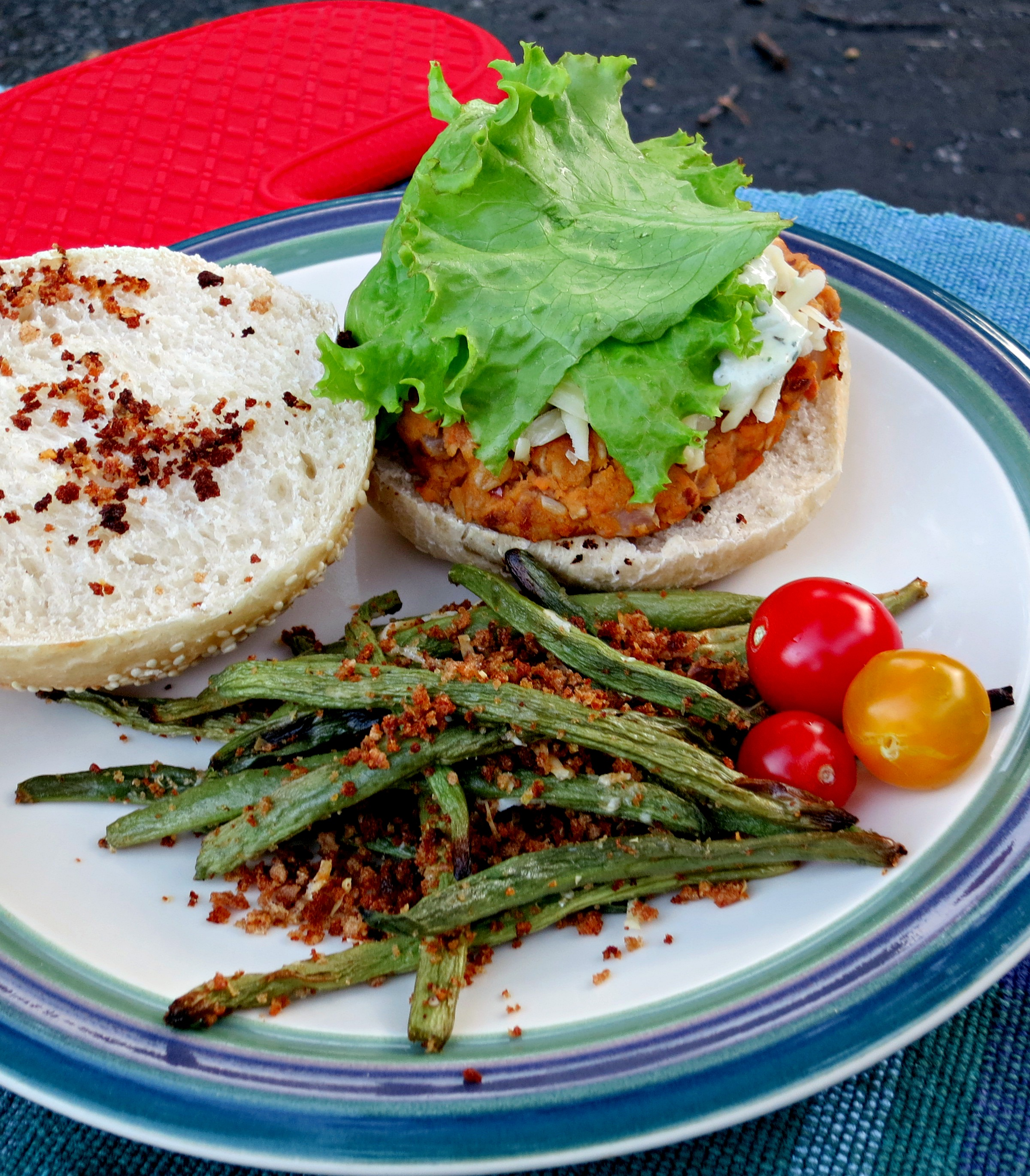 Sweet Potato and Chickpea Veggie Burgers and Green Beans