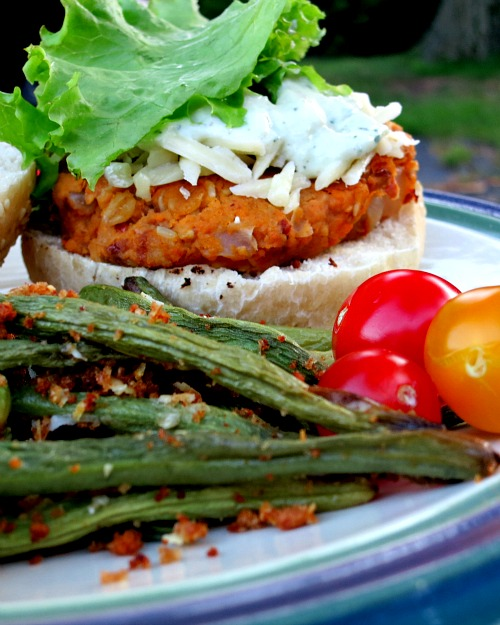 Veggie Burger and Green Beans