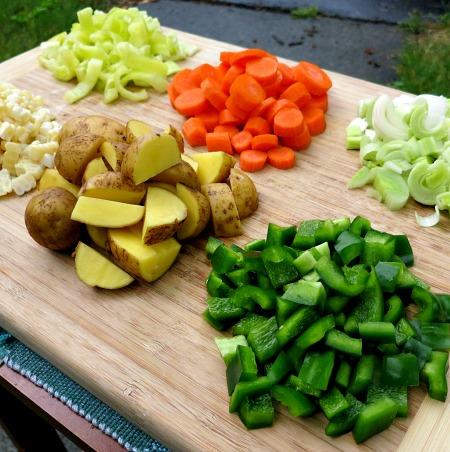 Veggie Prep for Corn Chowder Soup