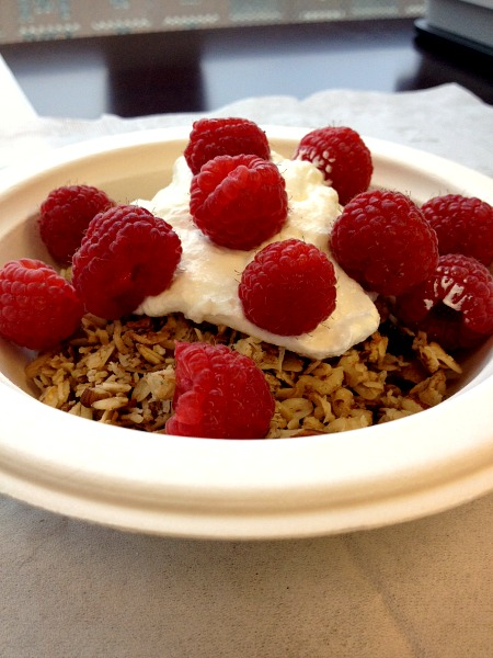Granola, Yogurt, Raspberries