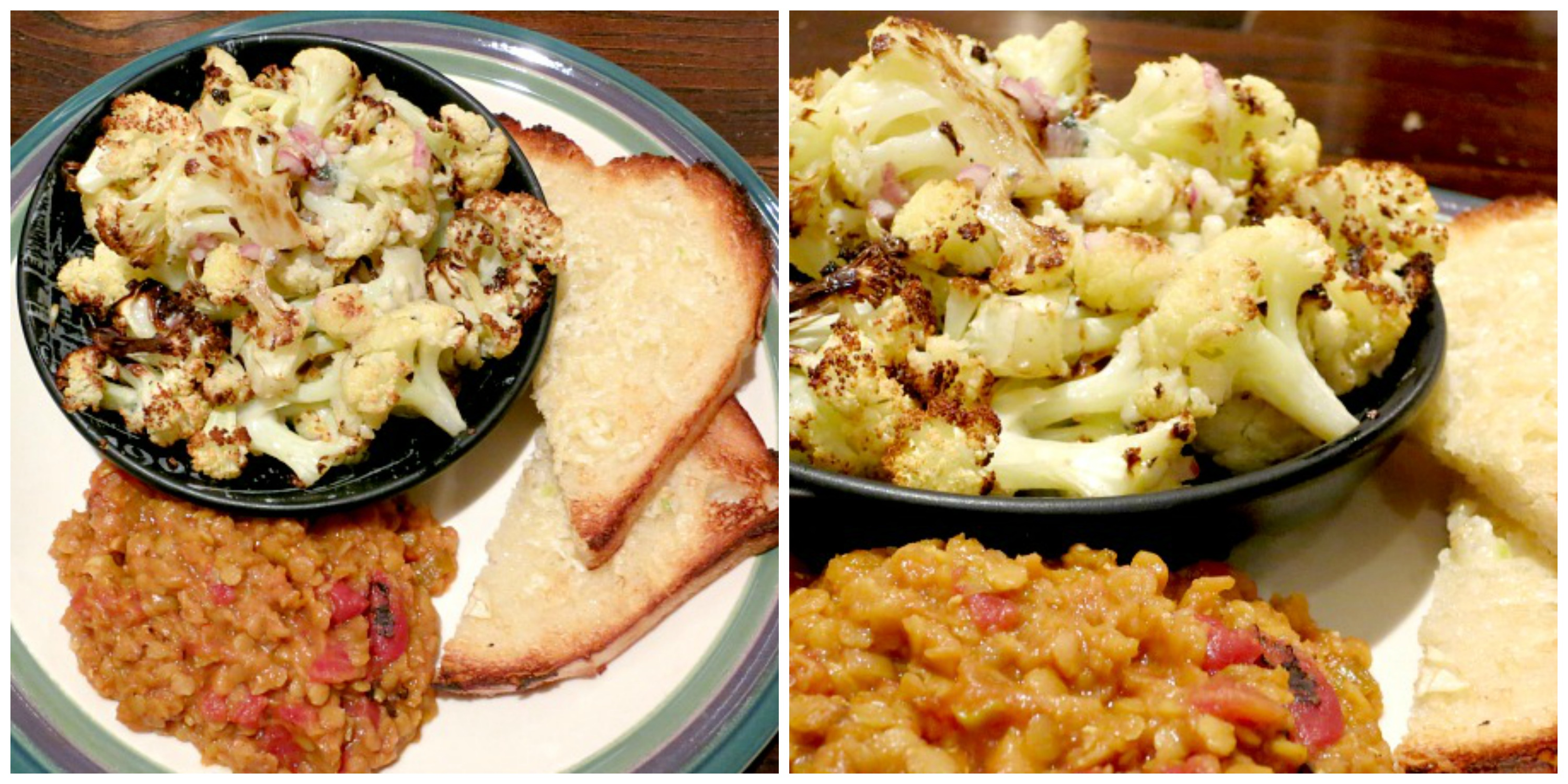 Cauliflower, Lentil Stew and Garlic Bread Collage