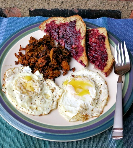 Fried Eggs, Sweet Potato Hash and Multigrain Toast with Blueberry Jam