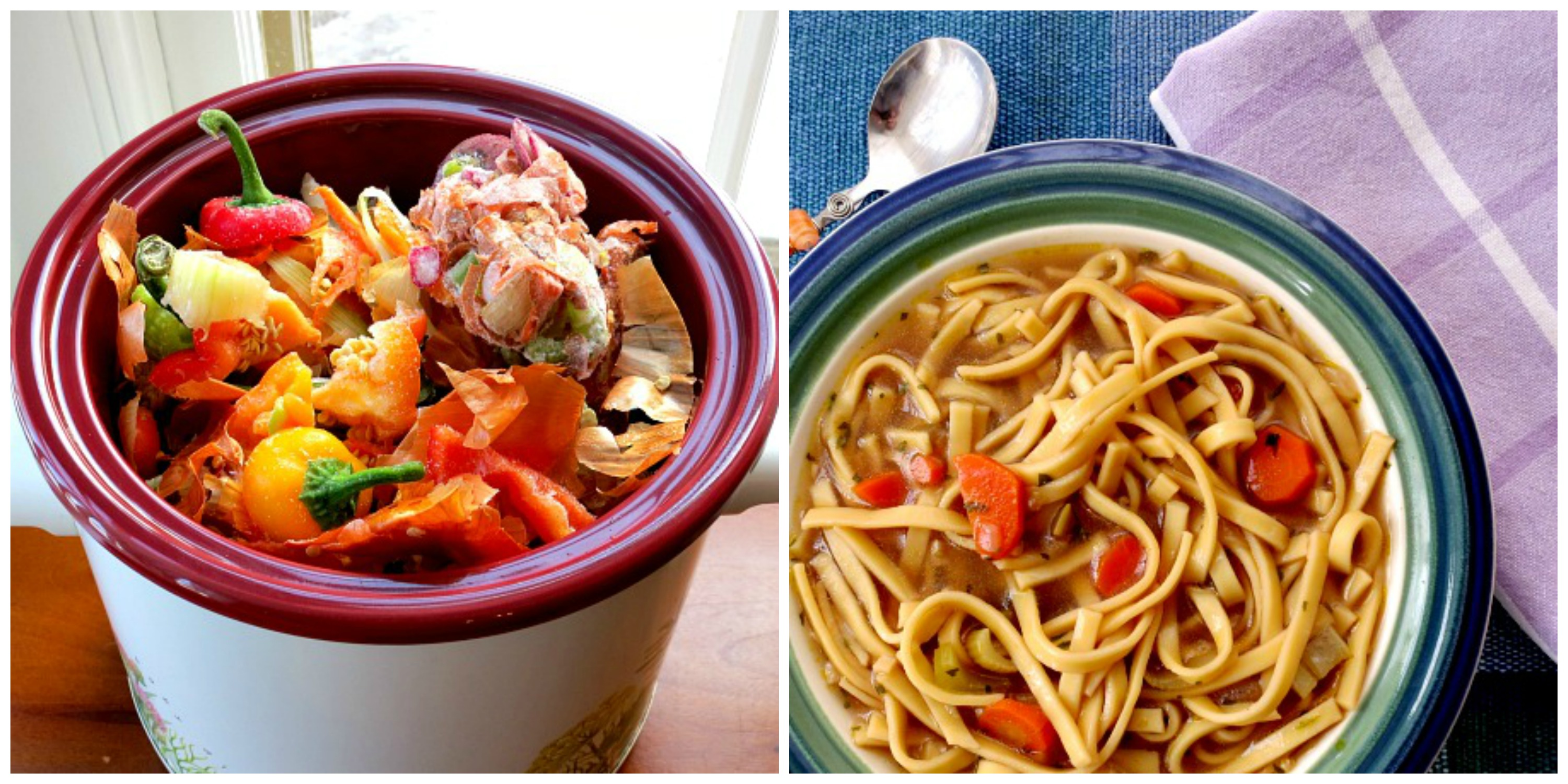 Veggie Stock and Chickenless Noodle Soup Collage