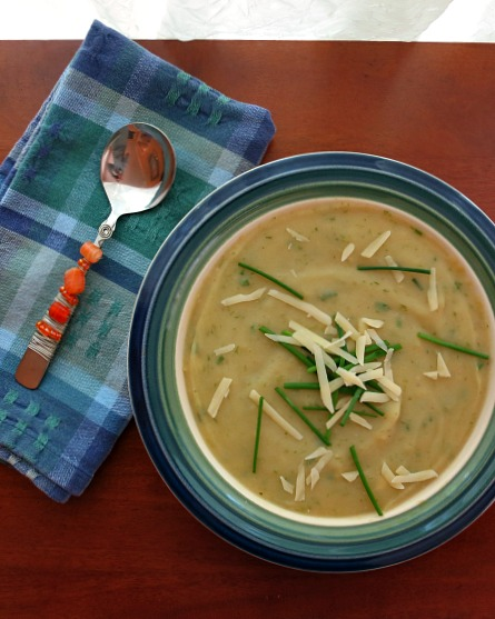 Creamy Potato Ramp Soup with Cheddar Cheese