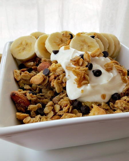 Peanut Butter Chocolate Chip Granola with Banana