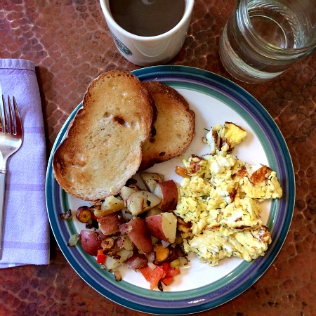 Dill Eggs, Hash Browns and Garlic Sundried Tomato Toast