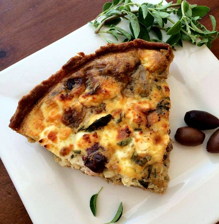 The Greek Quiche with Artichokes, Kalamata Olives and Feta