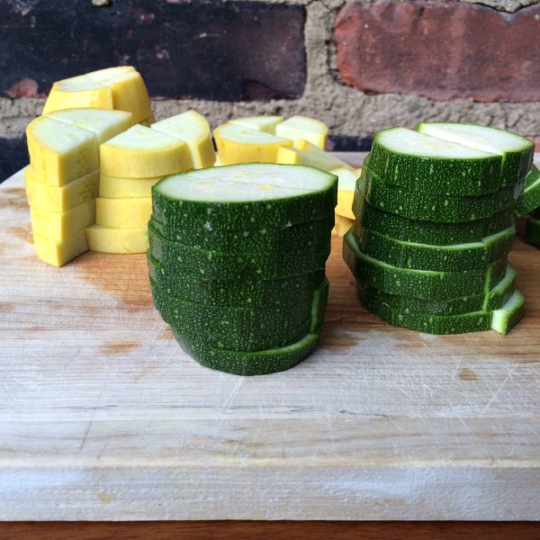 Summer Squash and Zucchini Ratatouille Prep