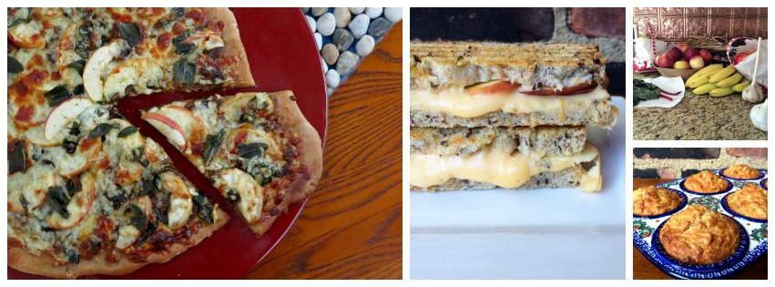 Apple Collage Pizza, Muffins and Grilled Cheese