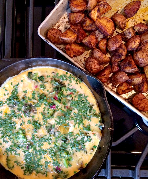 Vegetable & Chive Frittata with Roasted Red Skinned Potatoes