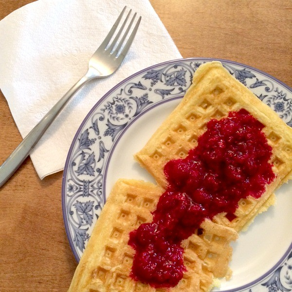 Day After Christmas Waffles with Raspberry Sauce