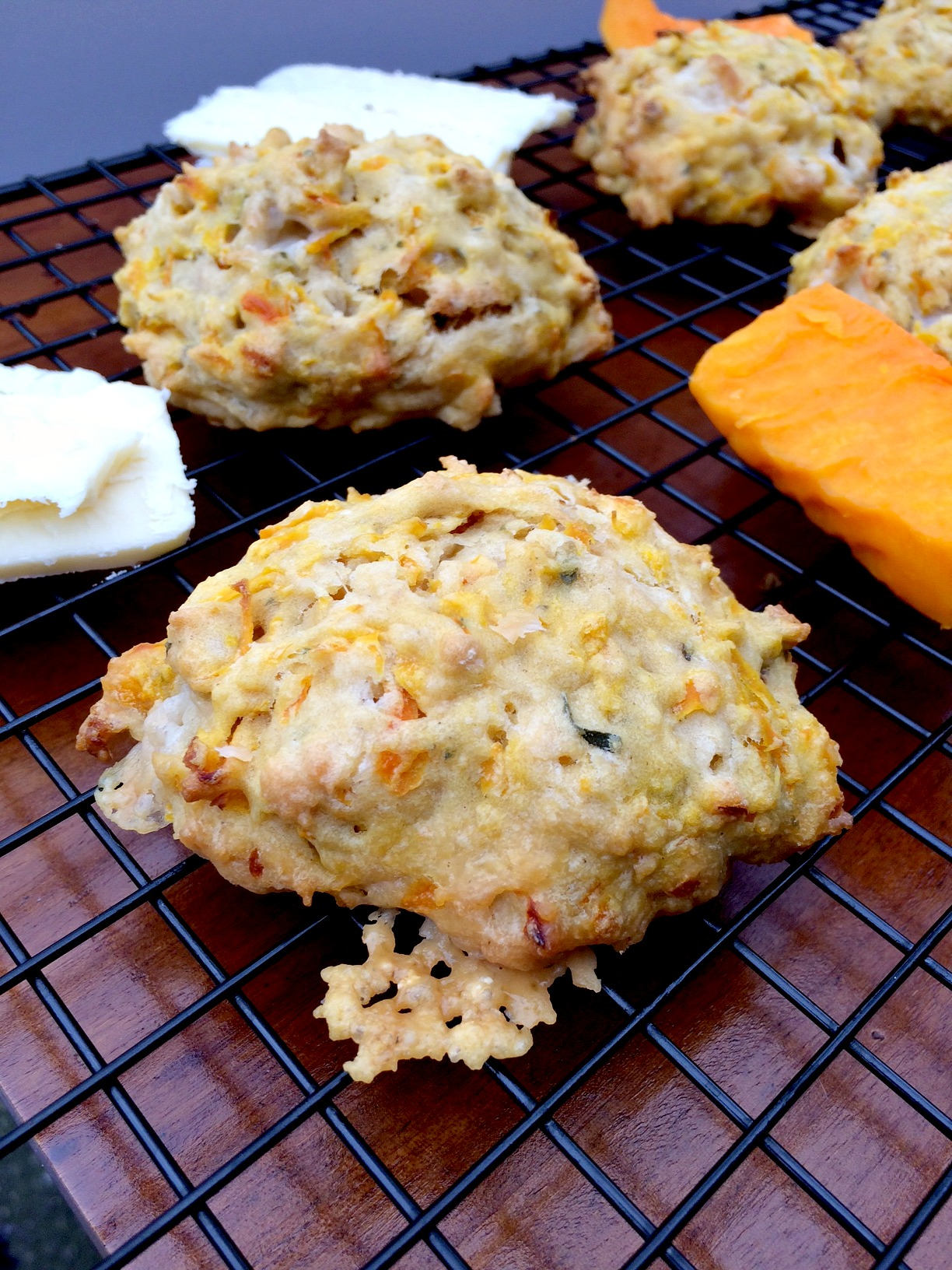 Butternut Squash Cheddar Drop Biscuits