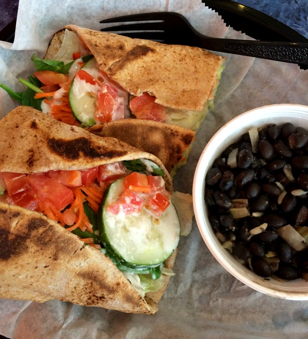 Veggie Toasted Pita with Rice and Beans