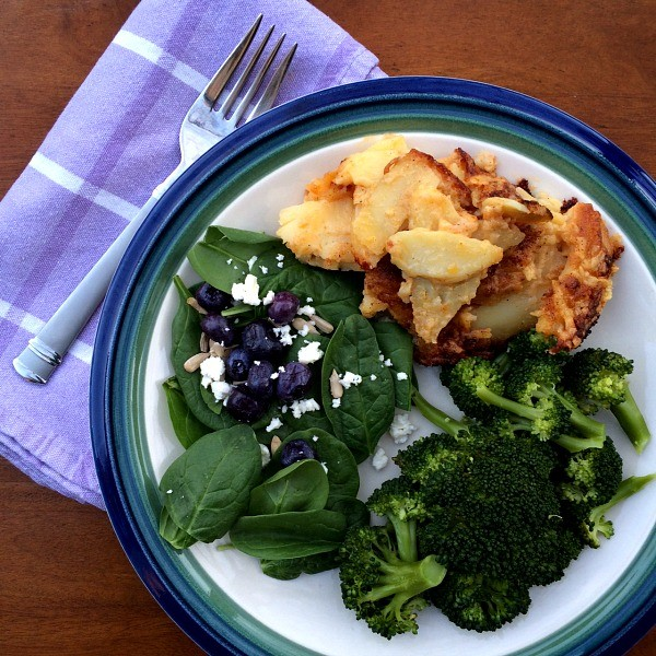 Cheddar Scalloped Potatoes, Spinach Salad and Broccoli Dinner