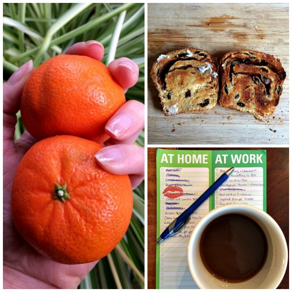 Cinnamon Raisin Toast, Clementines, Coffee and Lists