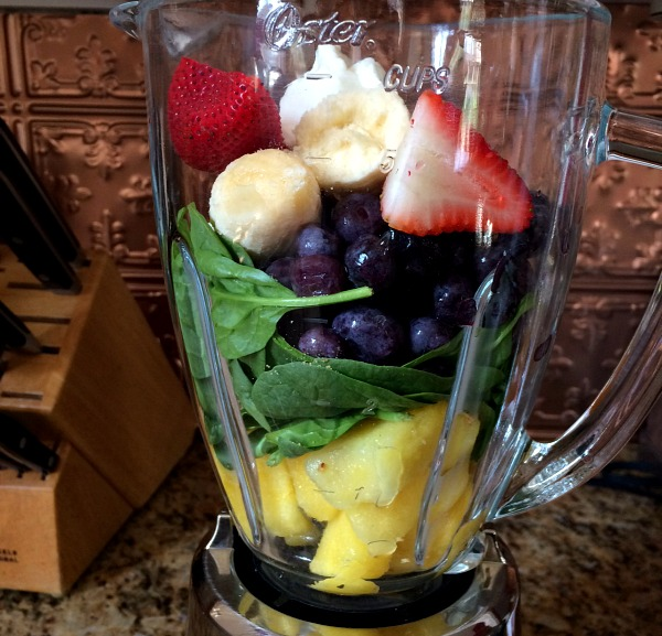Fruit Smoothie with Pineapple, Spinach, Blueberries, Strawberries, Banana and Yogurt