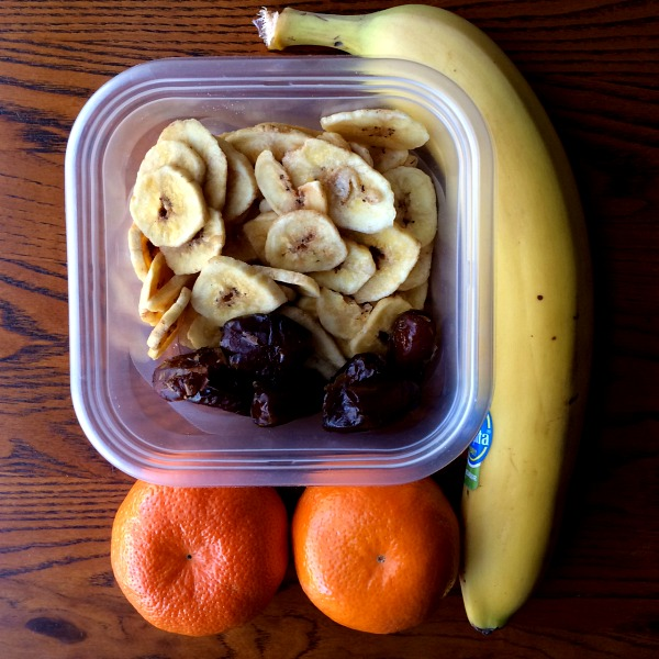 Road Trip Snacks - Banana, Banana Chips, Dates, Oranges