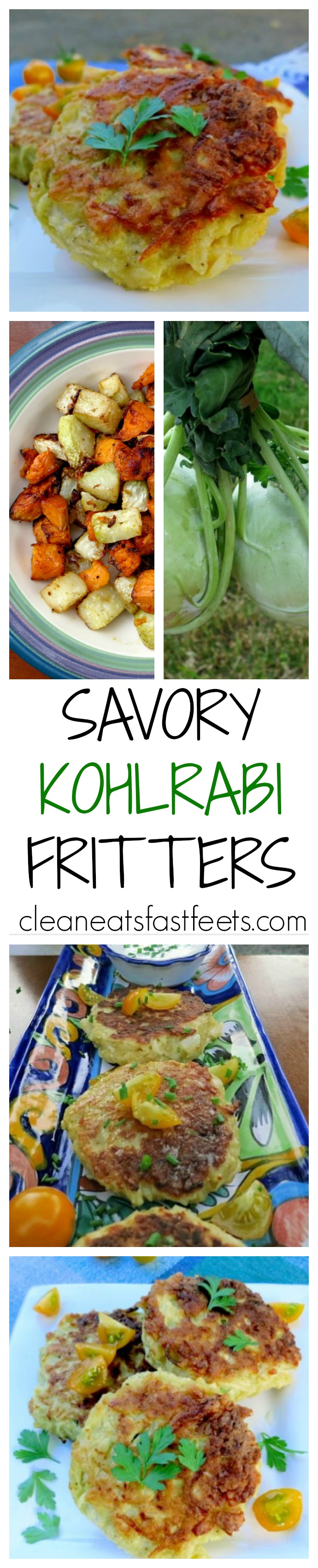 These savory fritters are perfect for a quick and easy meat free meal or as a veggie side dish. Chock full of kohlrabi, it's a great way to sneak in greens!