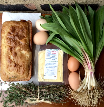 Farmers Market Finds - Ramps, Bread, Cheese, Eggs and Thyme - Copy