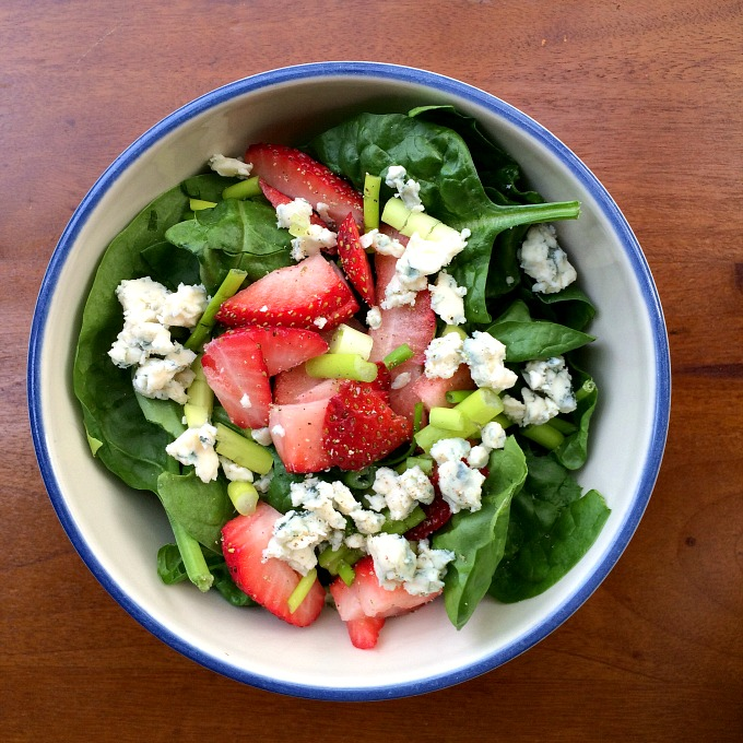 His Spinach Salad with Strawberries, Green Onions and Blue Cheese