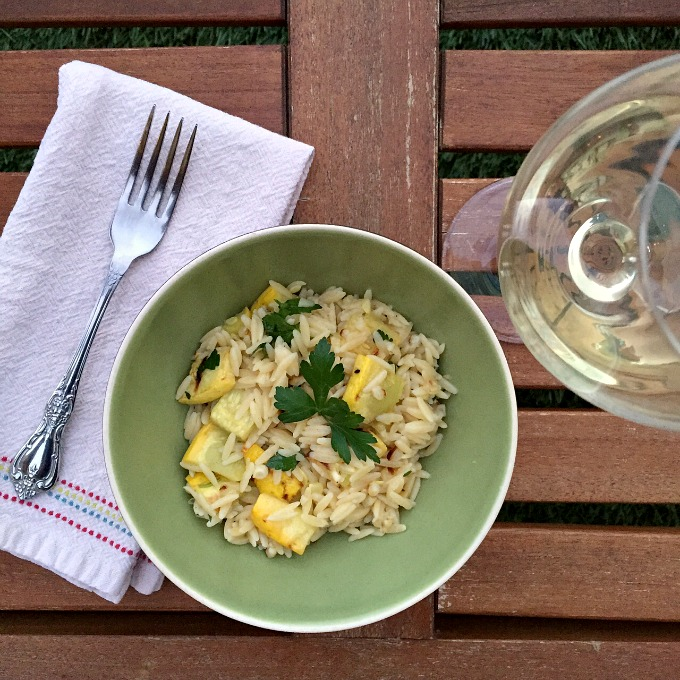 Orzo with Roasted Veggies in a Lemon Dijon Vinaigrette