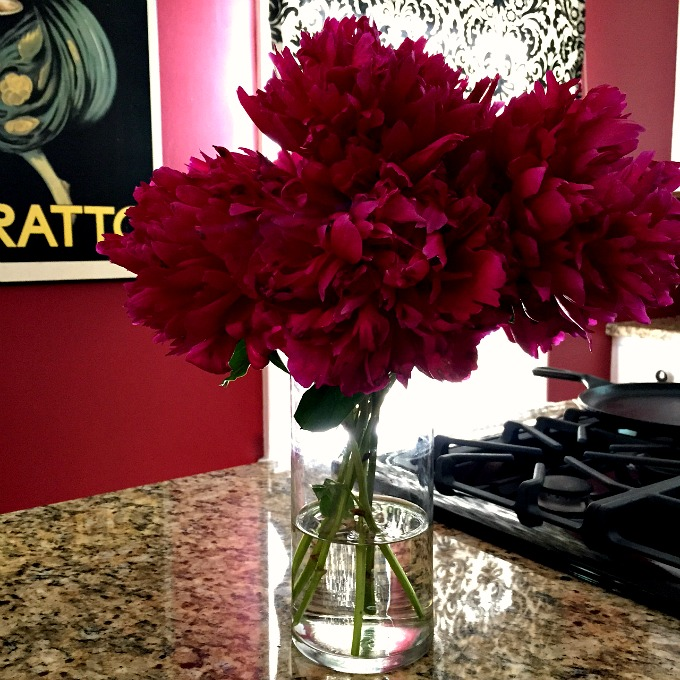 Peonies on the Kitchen Island