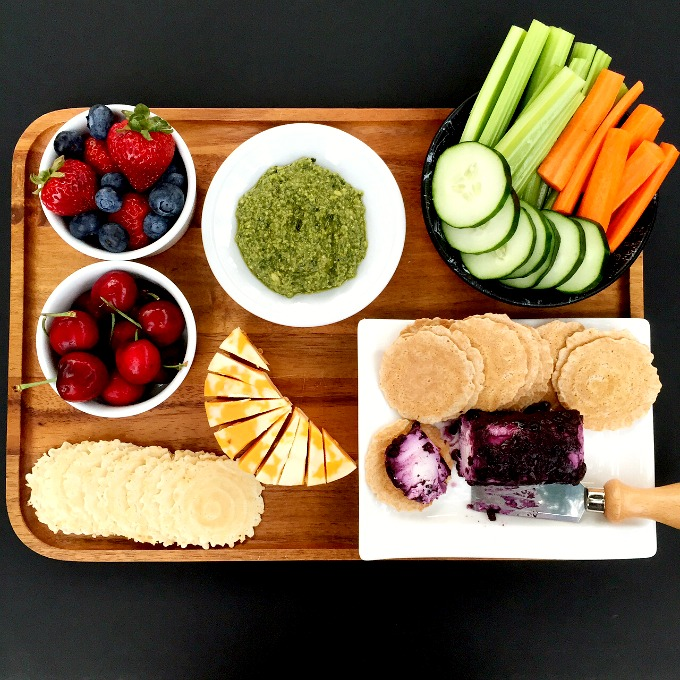 Snack Platter - Berries, Pesto, Cheese, Crudites and 34 Degrees Crackers