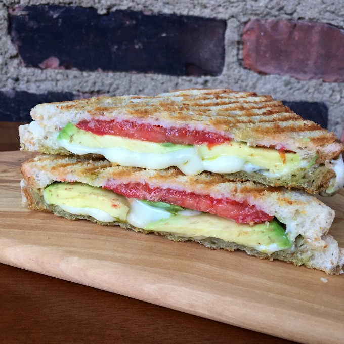 Tomato, Mozzarella, Avocado Pesto Sandwich