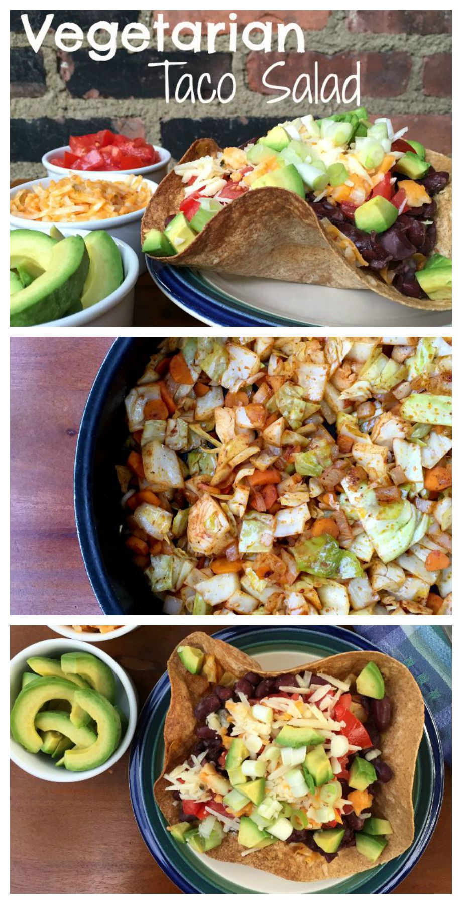 This quick, easy and spicy Vegetarian Taco Salad combines cabbage, carrots and beans for a mouth watering medley of flavors.