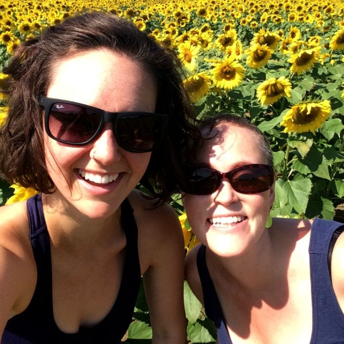 Brittany and Meghan in Sunflower Field