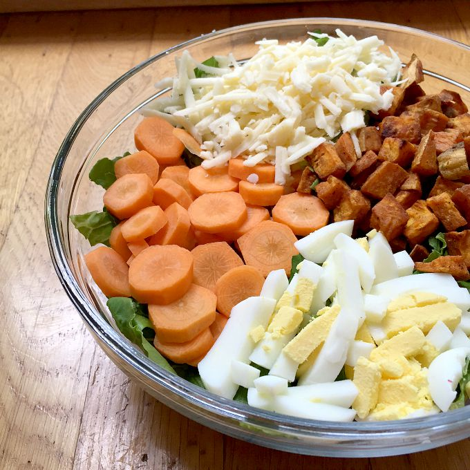 Fall Salad witth Cheddar, Roasted Sweet Potatoes, Hard Boiled Eggs and Carrots