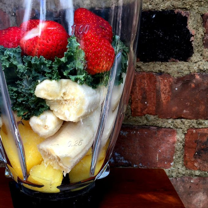 Pineapple, Banana, Kale, Strawberry Smoothie