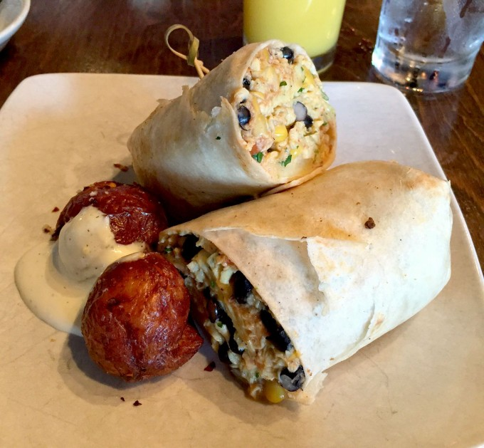 Sweet Melissa's Michelle Wrap - Eggs, Black Beans, Corn, Tomatoes, Cheddar and Red Skinned Potatoes