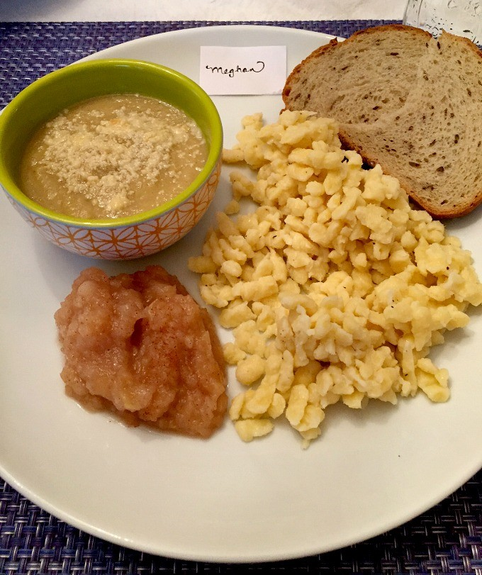 Cauliflower Soup, Applesauce, Spaetzle and Rye Bread